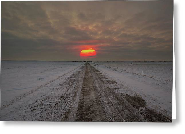 Frozen Road Sunset  Greeting Card