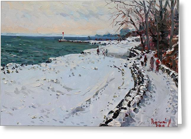 Frozen Shore In Oakville On Greeting Card by Ylli Haruni