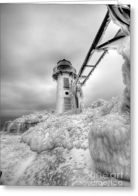 Frozen St. Joe Lighthouse By Kevin Oconnell - Kogalleries.com Greeting Card by Kevin Oconnell