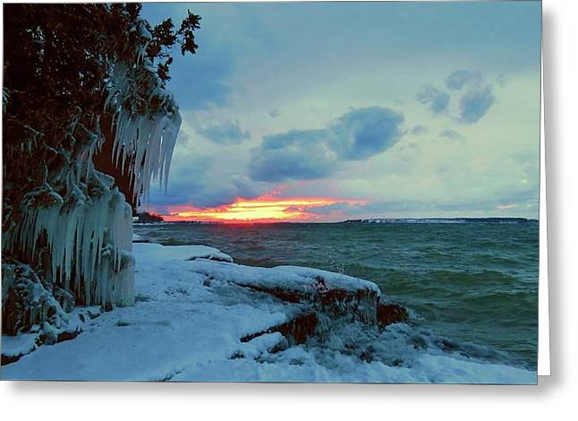 Frozen Sunset In Cape Vincent Greeting Card