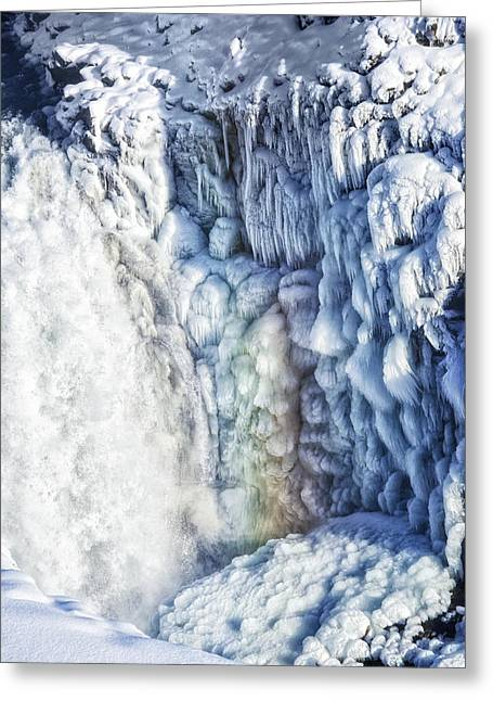 Greeting Card featuring the photograph Frozen Waterfall Gullfoss Iceland by Matthias Hauser
