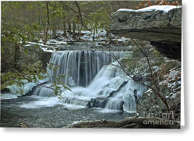 Frozen Waterfalls Greeting Card by Robert Pilkington