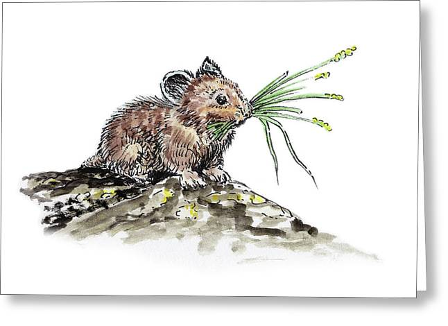 Greeting Card featuring the painting Frugal Mr Mouse  by Irina Sztukowski