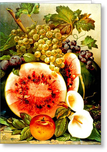 Fruit And Calla Lilies - Vintage Art Painting Greeting Card by Just Eclectic