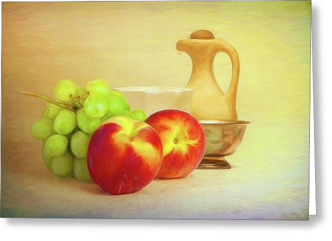 Fruit And Dishware Still Life Greeting Card