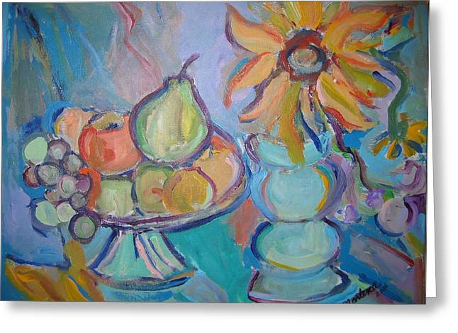 Fruit And Flowers 2 Greeting Card by Marlene Robbins