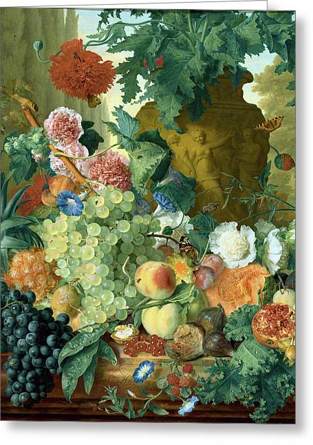 Fruit And Flowers In Front Of A Garden Vase With An Opium Poppy Greeting Card