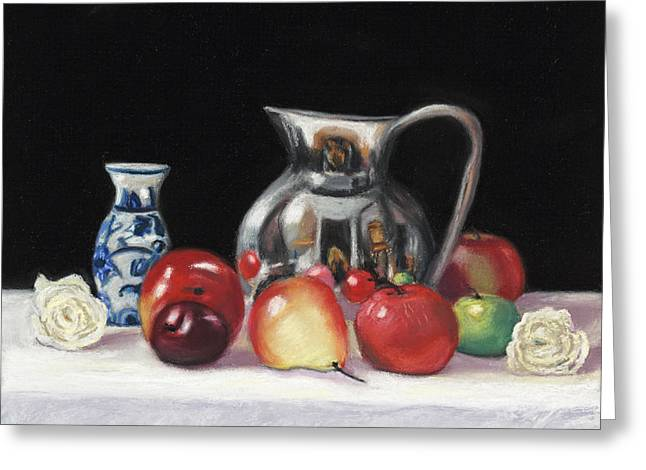 Self-portrait Greeting Cards - Fruit and Flowers Greeting Card by Sharon Morley  APS