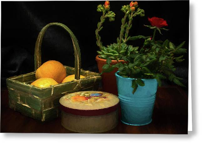 Fruit And Flowers Still Life Digital Painting Greeting Card