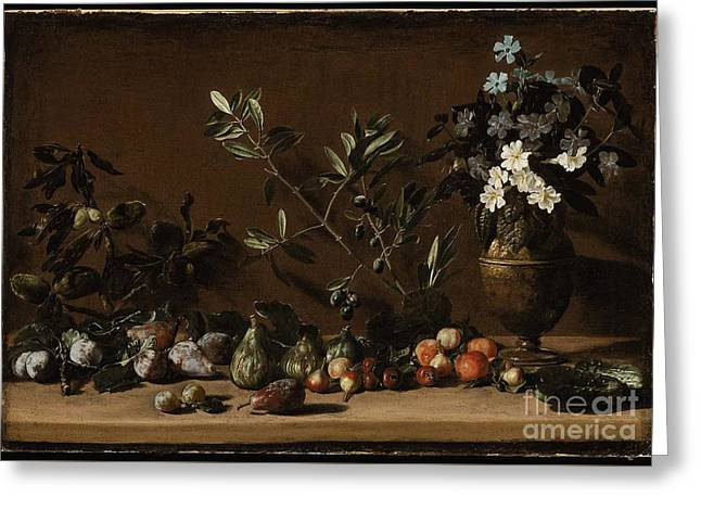 Fruit And Vase Of Flowers On A Ledge Greeting Card