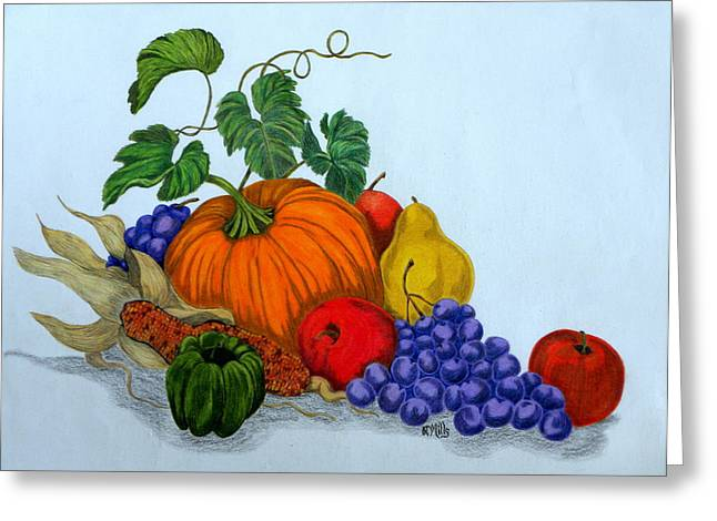 Greeting Card featuring the drawing Fruit And Veggies by Terri Mills