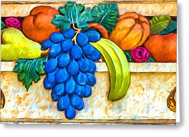 Fruit Basket Frieze Greeting Card by John Haldane