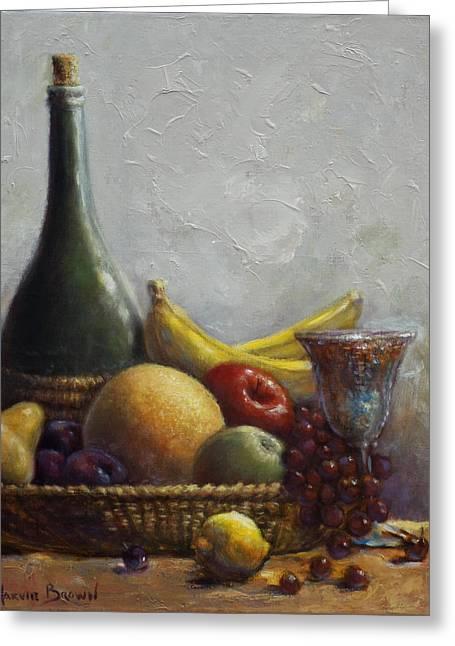 Fruit Basket Greeting Card by Harvie Brown