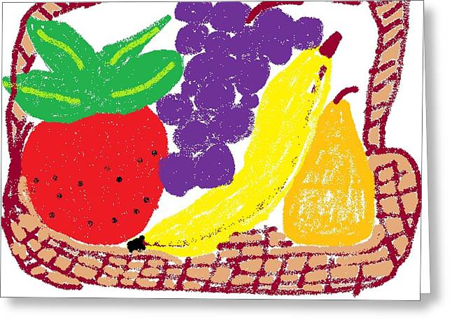 Fruit Basket Greeting Card by Rosemary Mazzulla