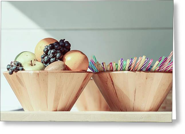 Fruit Bowl And Colorful Straws On Table Greeting Card by Radu Bercan
