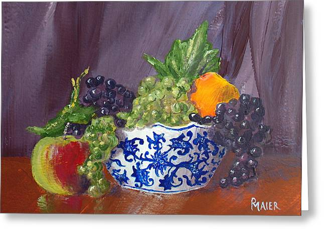 Fruit Bowl Greeting Card by Pete Maier