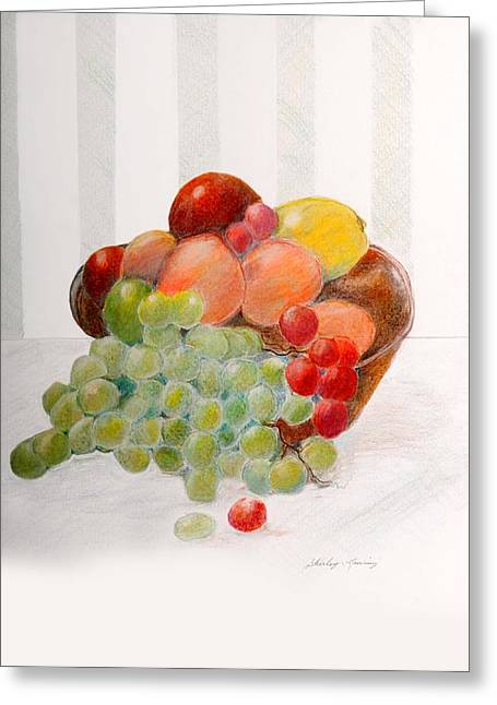 Fruit Bowl Greeting Card by Shirley Lawing