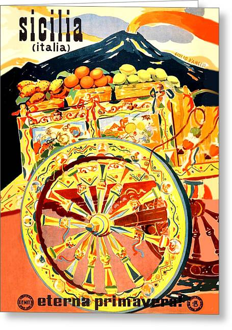 Fruit Carriage From Sicily Greeting Card