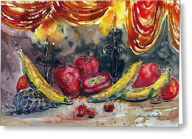 Fruit Drape And Candle Greeting Card by Shirley Sykes Bracken