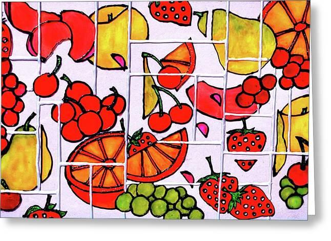Fruit Fractals Greeting Card by Farah Faizal