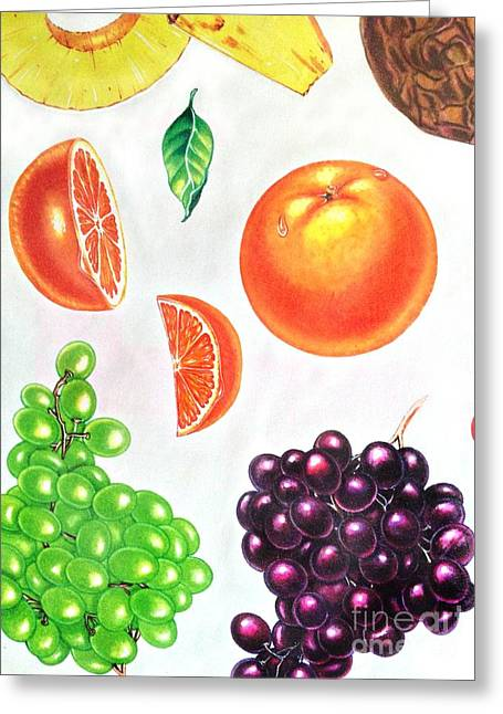 Fruit Illustrations - Markers And Pencil Greeting Card by Miriam Danar