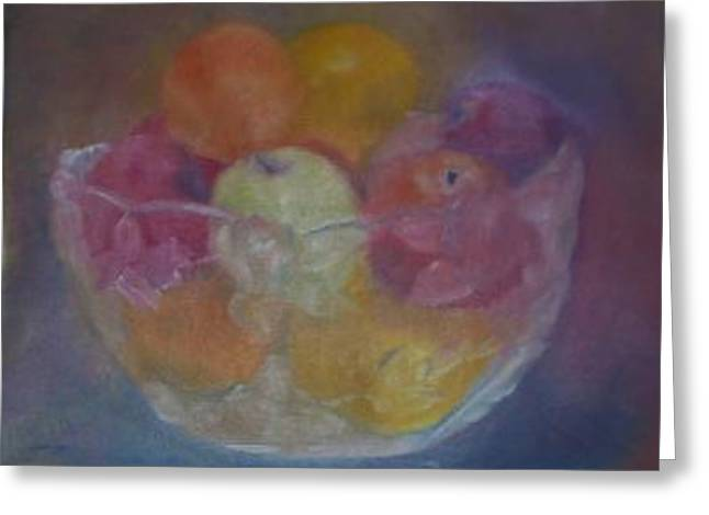Fruit In Glass Bowl Greeting Card by Sheila Mashaw