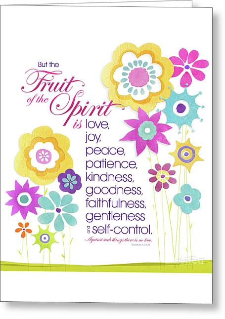 Greeting Card featuring the mixed media Fruit Of The Spirit by Shevon Johnson