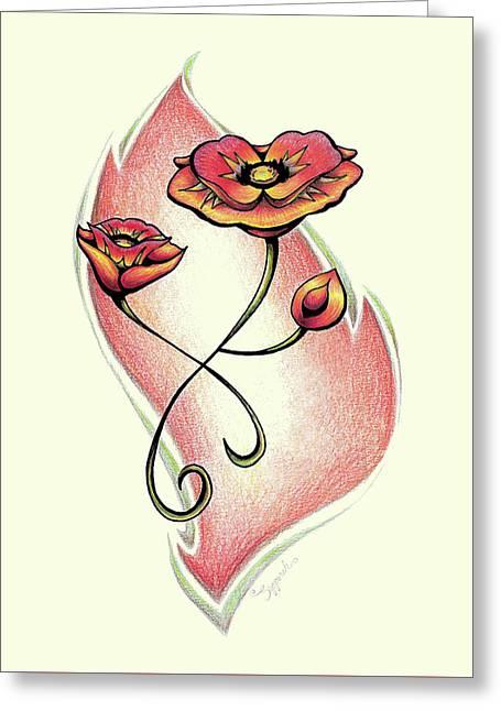 Vibrant Flower 1 Poppy Greeting Card