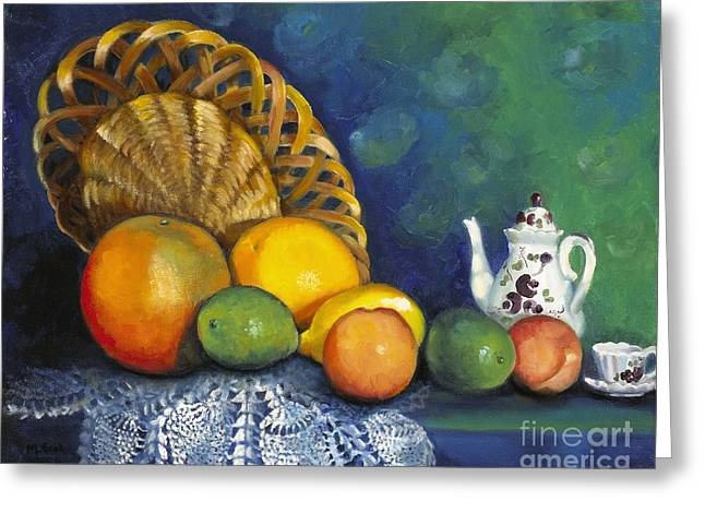 Fruit On Doily Greeting Card by Marlene Book