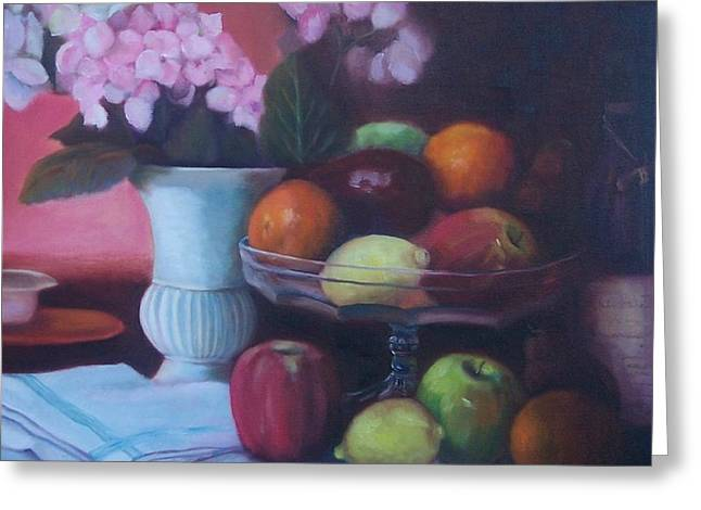 Fruit On Glass Dish I Greeting Card by Marlene Book
