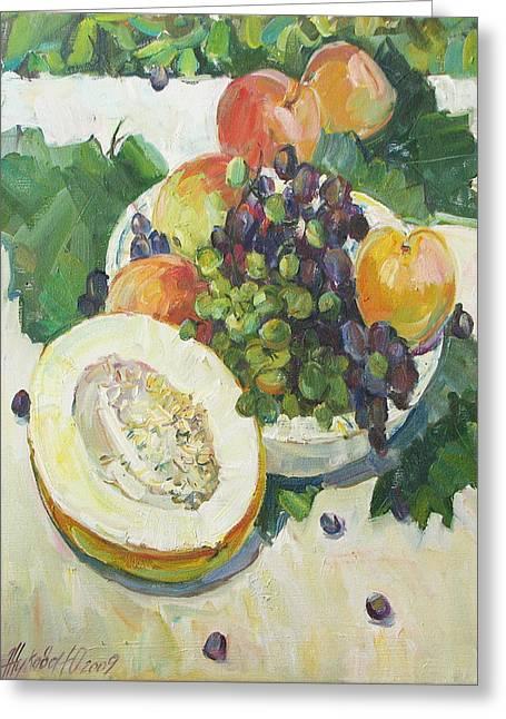 Fruit On Grape Leaves Greeting Card by Juliya Zhukova