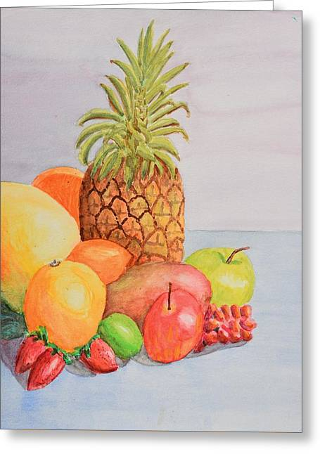 Fruit On Table Greeting Card by Linda Brody