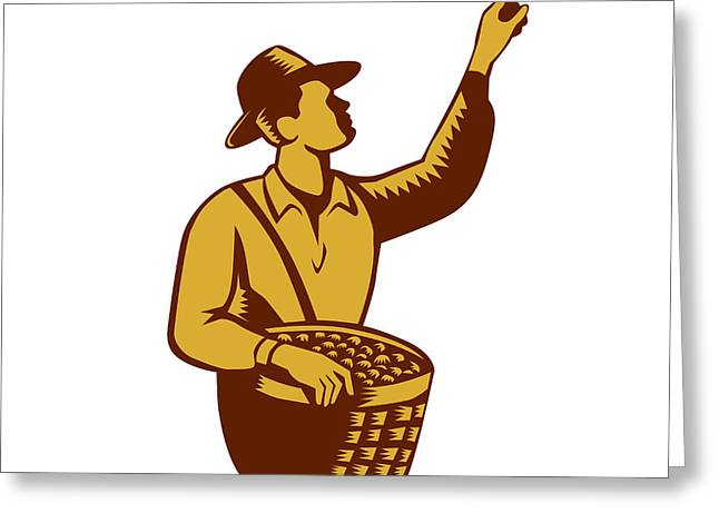 Fruit Picker Worker Pointing Woodcut Greeting Card