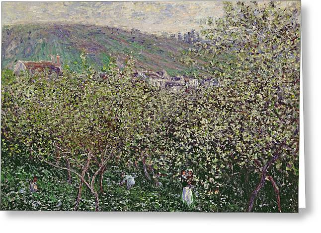 Pickers Greeting Cards - Fruit Pickers Greeting Card by Claude Monet