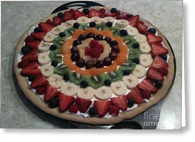 Fruit Pizza Greeting Card by DebiJeen Pencils
