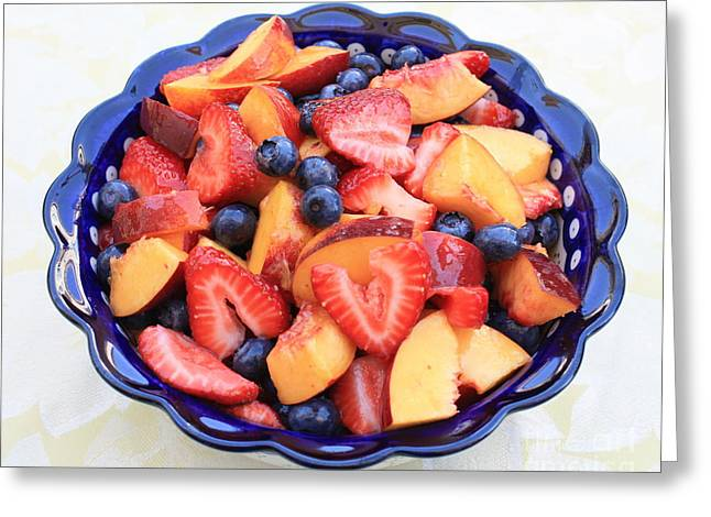 Blueberris Greeting Cards - Fruit Salad in Blue Bowl Greeting Card by Carol Groenen