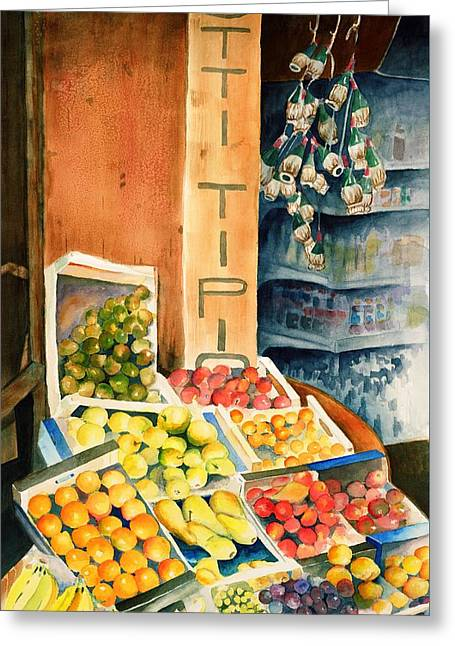 Fruit Shop In San Gimignano Greeting Card by Judy Swerlick