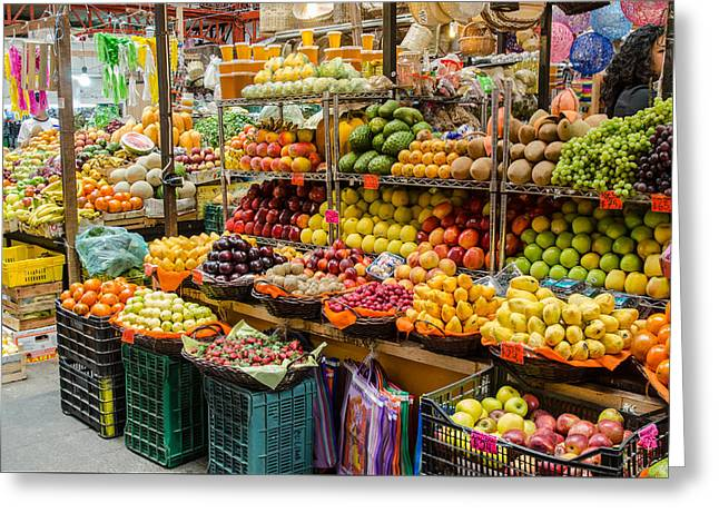 Fruit Stall In A Guanajuato Market, Greeting Card by Rob Huntley