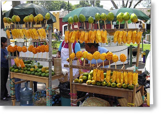 Fruit Stand Antigua  Guatemala Greeting Card by Kurt Van Wagner