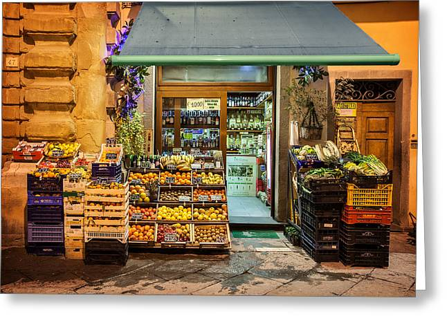 Fruit Stand In Tuscany Greeting Card