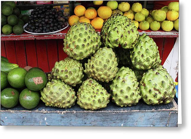 Fruit Stand With Chirimoya Greeting Card by Janet Millard