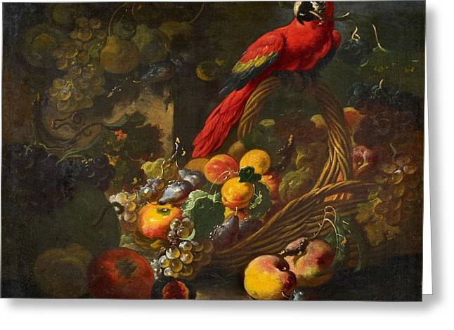 Fruit Still Life With A Parrot Greeting Card by Giovanni Paolo