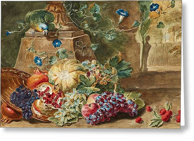 Fruit Still Life With A Parrot Greeting Card by MotionAge Designs