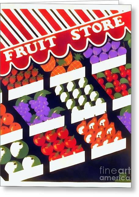 Fruit Store Vintage Wpa Poster Greeting Card