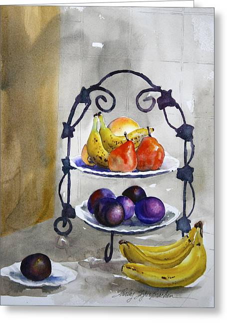 Fruit Tree At The Stuart's Greeting Card by Shirley Sykes Bracken