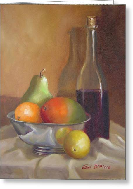 Fruit With Bottle Of Wine Greeting Card