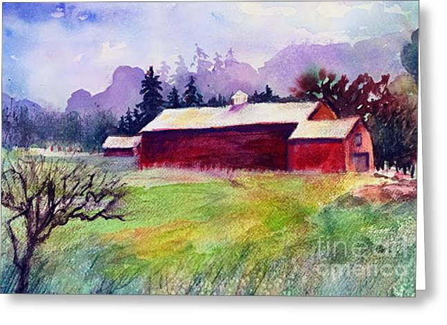 Greeting Card featuring the painting Fruitlands Museum II by Priti Lathia