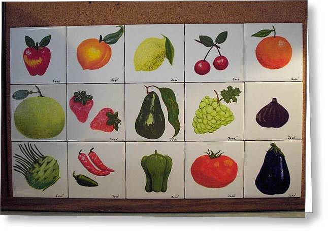 Greeting Card featuring the ceramic art Fruits And Vegetables by Hilda and Jose Garrancho