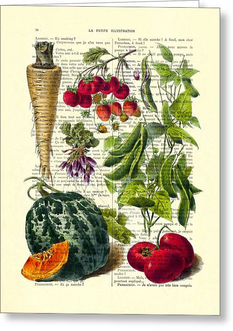 Fruits And Vegetables Kitchen Decoration Greeting Card