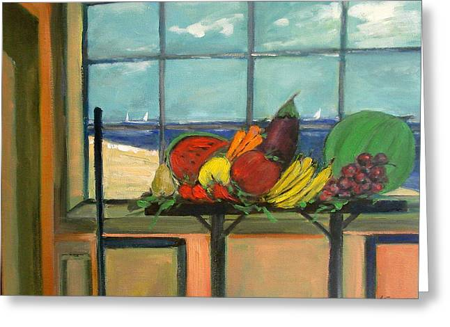 fruits and vegetables on a window sill overlooking the Mediterranean in Lebanon Greeting Card by Adel Sansur